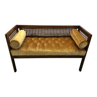 1970s Vintage Cane & Tufted Velvet Bench For Sale