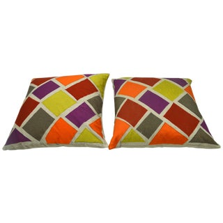 Multicolor Inlaid Square Pillows - A Pair