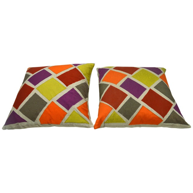 Multicolor Inlaid Square Pillows - A Pair For Sale