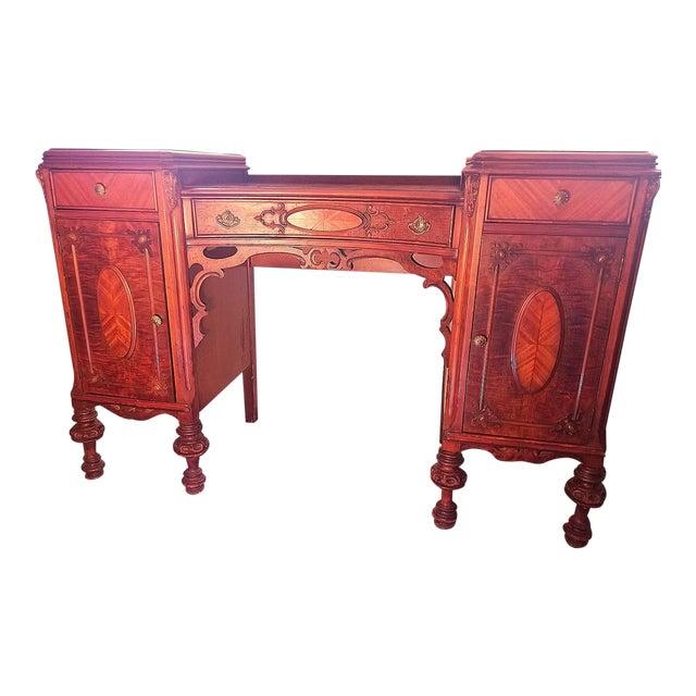 Williamsport Walnut Burl & Mahogany Vanity Table For Sale