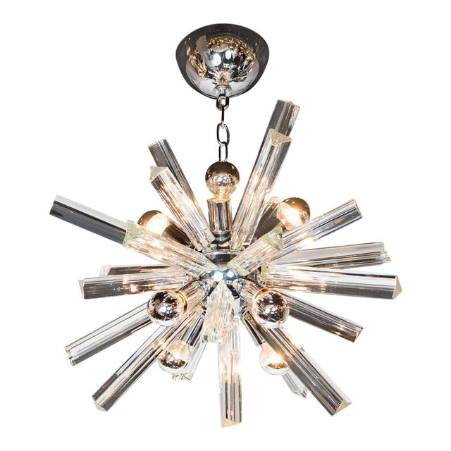 Mid-Century Modern Sputnik Chrome Chandelier with Murano Triedre Rods by Camer For Sale