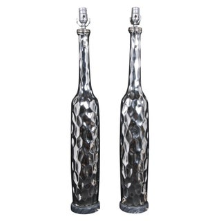 Honeycomb Metal Table Lamps - A Pair For Sale