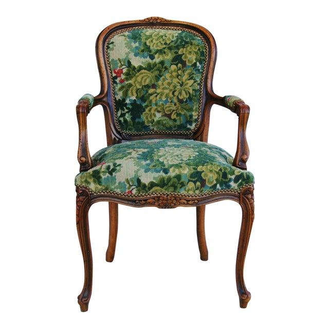 Scalamandre Marly Velvet Tapestry Upholstered Walnut Armchair - Image 1 of 10