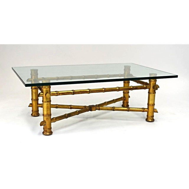 Faux Bamboo Glass Top Coffee Table For Sale - Image 10 of 10