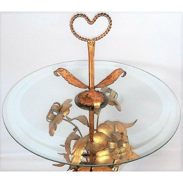 Italian Italian Tole Glass Top Table For Sale - Image 3 of 4