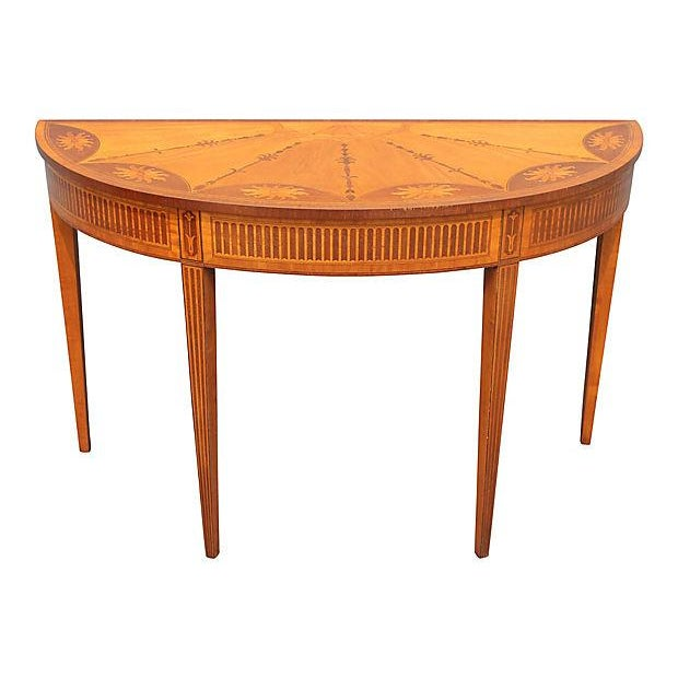 Wood Inlay Demilune Console Table - Image 1 of 9