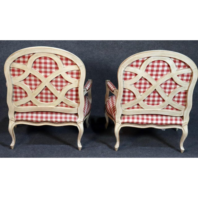 Cream Oversized Antique Distressed Painted Louis XV Style Bergere Chairs - a Pair For Sale - Image 8 of 11