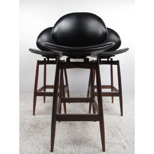 Mid-Century Modern Mid-Century Modern Clamshell Bar Stools - Set of 3 For Sale - Image 3 of 11