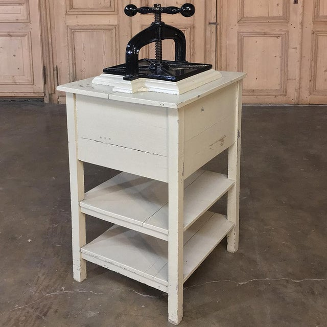 19th Century Cast Iron Paper Press on Painted Stand For Sale In Baton Rouge - Image 6 of 11