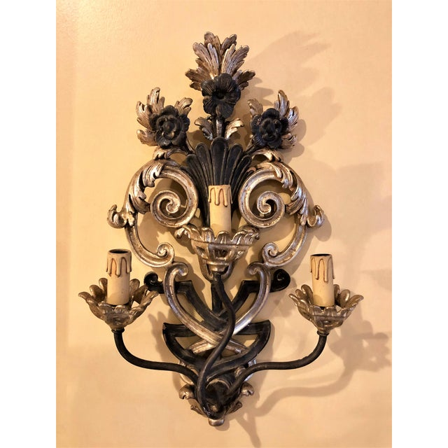 Italian Pair of Italian Carved Wood Wall Sconces Circa 1940s-1950s For Sale - Image 3 of 3