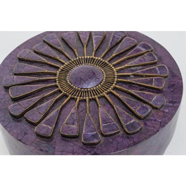 Purple Aubergine Pen Shell Box by R & Y Agousti Paris 1990s For Sale - Image 8 of 9