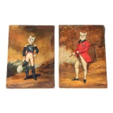 Image of 1900s French Singerie Style Portrait Oil Paintings of Cats in Military and Formal Dress - a Pair For Sale