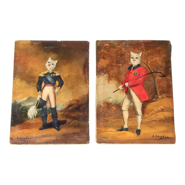 1900s French Singerie Style Portrait Oil Paintings of Cats in Military and Formal Dress - a Pair For Sale
