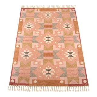 1960 Swedish Flat Weave Rug - 5′6″ × 7′6″ For Sale