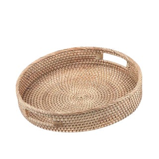 Modern Round Rattan Tray For Sale