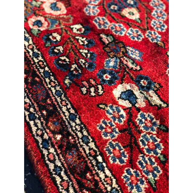 Red 1950s Vintage Persian Hamadan Runner Rug - 2′10″ × 17′3″ For Sale - Image 8 of 13
