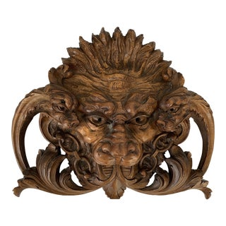 Antique Hand Carved Walnut Lions Dragons Head Sculpture For Sale