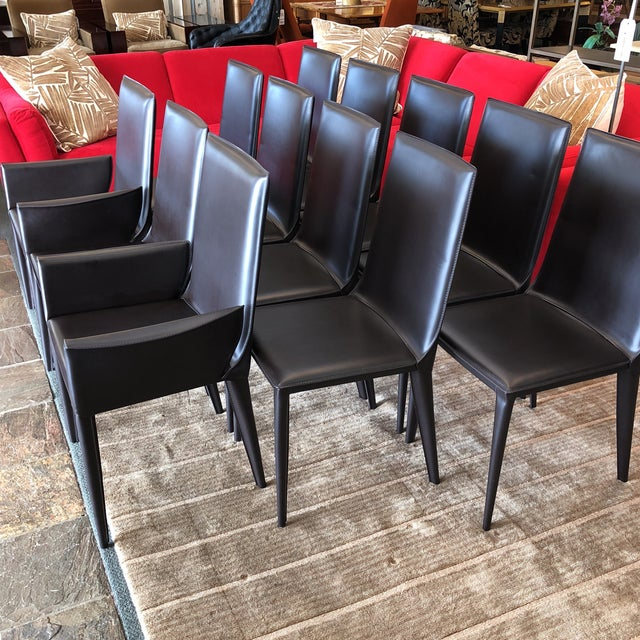 Design Within Reach Bottega Leather Dining Chairs - Set of 12 - Image 3 of 11