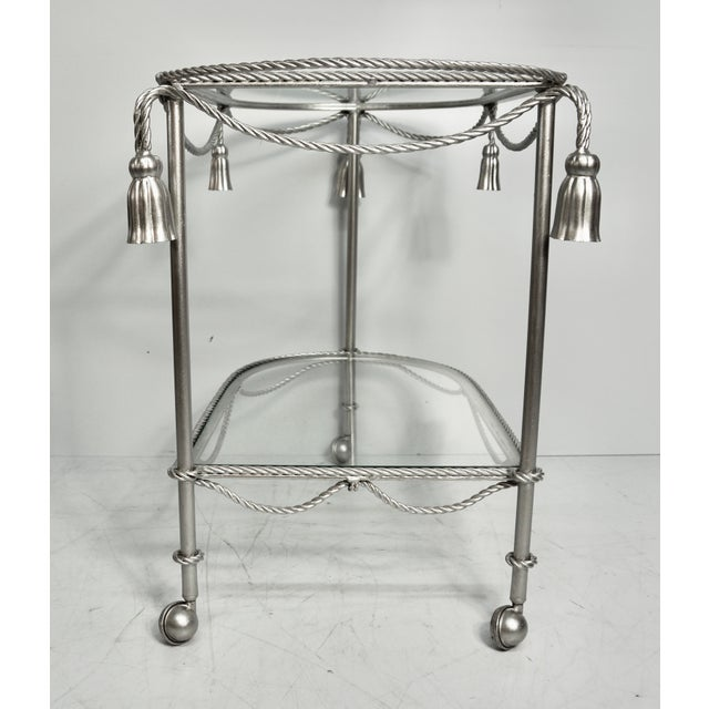 Mid 20th Century Hand Painted Metallic Rope & Tassel Bar Cart For Sale - Image 4 of 10