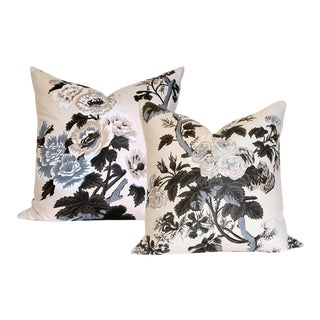 "Pyne Hollyhock Charcoal Pillow Covers - a Pair 20"" Sq For Sale"