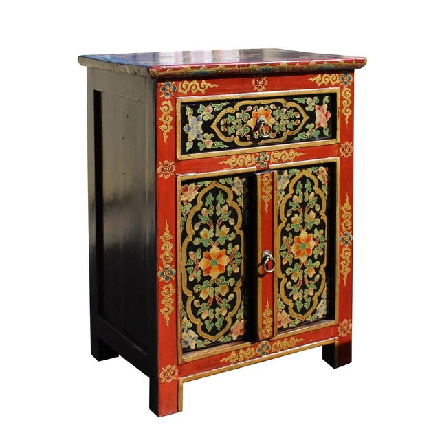 Asian Tibetan Orange Red Black Floral End Table Nightstand For Sale - Image 3 of 6