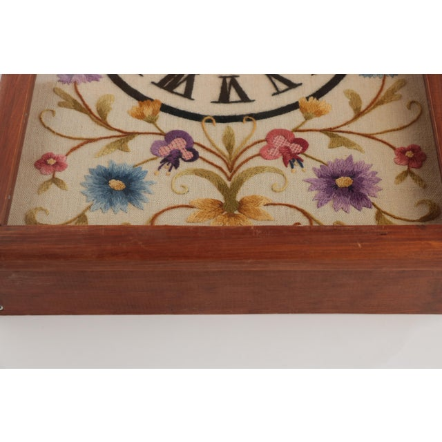Jacobean Floral Crewel Embroidery Clock For Sale - Image 5 of 8