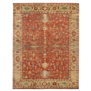 Exquisite Rugs Serapi Hand knotted Wool Red/Gold Rug-10'x14' For Sale