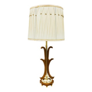 Vintage Mid Century Modern Wood & Brass Lamp For Sale