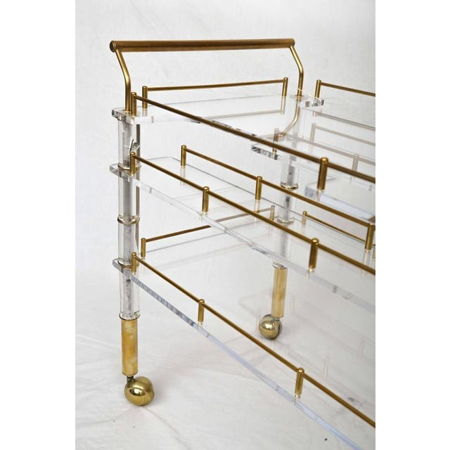 Lucite and Brass Bar Cart on Casters in the Style of Hollis Jones - Image 6 of 9