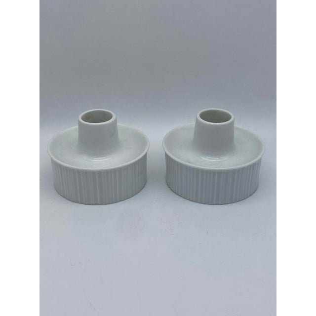 Mid-Century Modern Tapio Wirkkala for Rosenthal, Germany porcelain candle holders with white glaze and horizontal ridges....