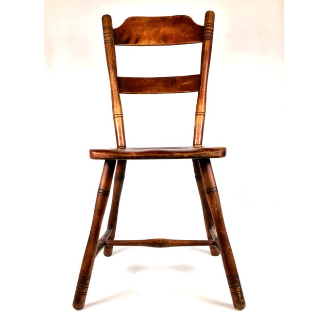 Early 18th Century Antique Myles Standish Line Wood Chair For Sale - Image 4 of 13