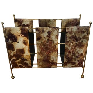 Goatskin Magazine Rack by Aldo Tura For Sale