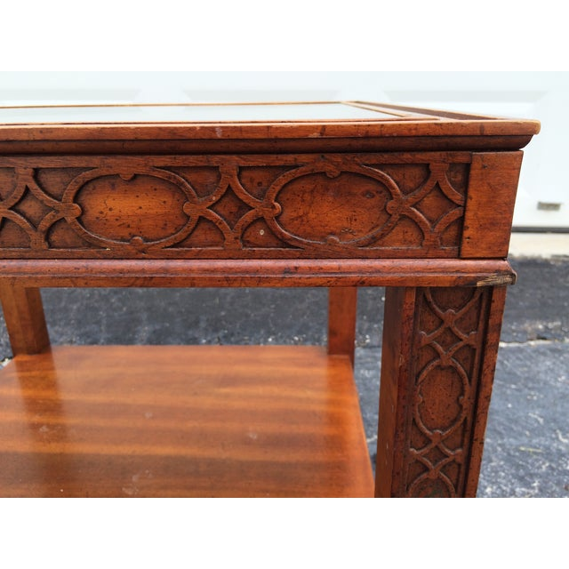 Chinese Chippendale Wood Fretwork Side Table - Image 7 of 7