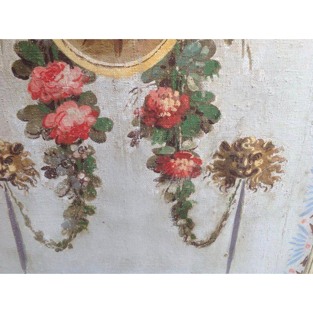 Pair of Antique Painted Canvas Window Panels For Sale - Image 4 of 13