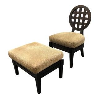 McGuire Portico Chair & Ottoman by Orlando Diaz-Azcuy