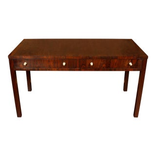 Large Exotic Wood Desk with Nickel Pulls For Sale