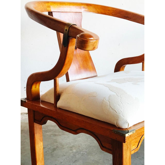 Brass Vintage James Mont Horseshoe Chairs - a Pair For Sale - Image 7 of 9