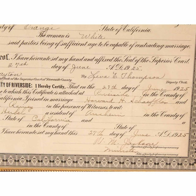 Glass 1925 Framed Marriage License For Sale - Image 7 of 7
