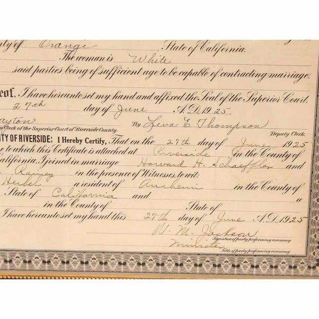 1925 Framed Marriage License - Image 7 of 7