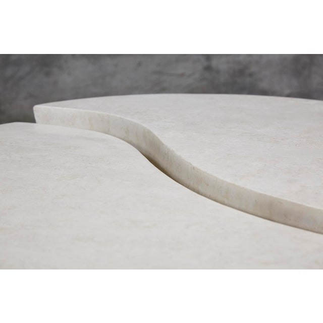 """1990s 1990s Contemporary Freeform White Stone Two Part """"Hampton"""" Coffee Table For Sale - Image 5 of 13"""