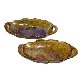 Mid-Century Marigold Carnival Glass Relish Amber Dishes - A Pair For Sale