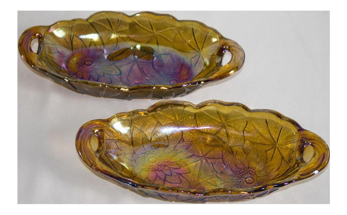 Vintage Amber Carnival Glass Sunflower Patterned Dish Marigold Pressed Glass Carnival Depression Glass Long Serving Bowl Sunflowers