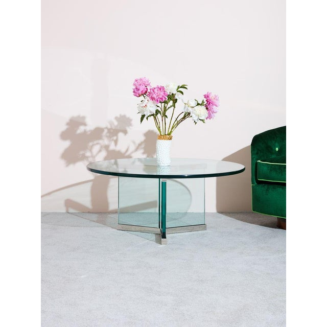 1980s classic circular glass coffee table by Pace Collection, a high end furniture company began in the 1960's in NYC....