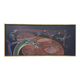"Arthur Lidov (American, 1917-1990) ""Kidney Man"" Original Surreal Oil Painting C.1965 For Sale"