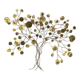 1960s Brass 'Tree of Life' Wall Sculpture by Curtis Jere For Sale