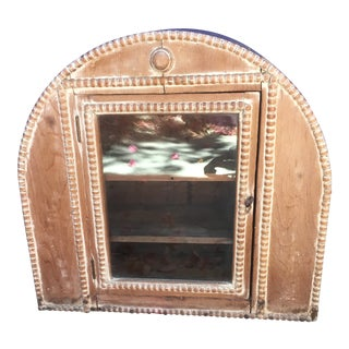 Antique Wooden Standing Curio Cabinet For Sale