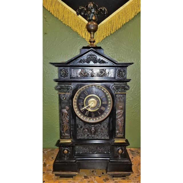 19th Century French Slate & Bronze Clock by Marti For Sale - Image 13 of 13