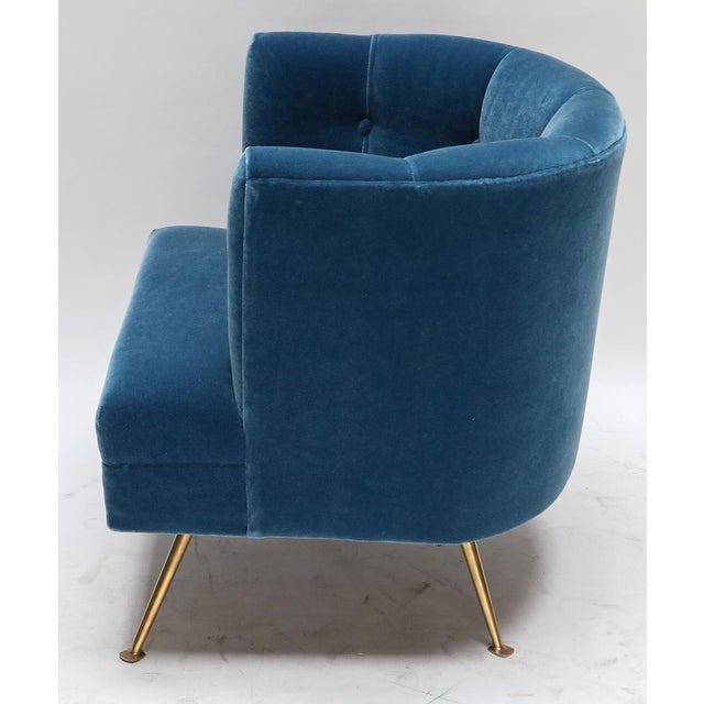 1960s Italian Lounge Chairs in Blue Mohair-A Pair For Sale In Los Angeles - Image 6 of 9