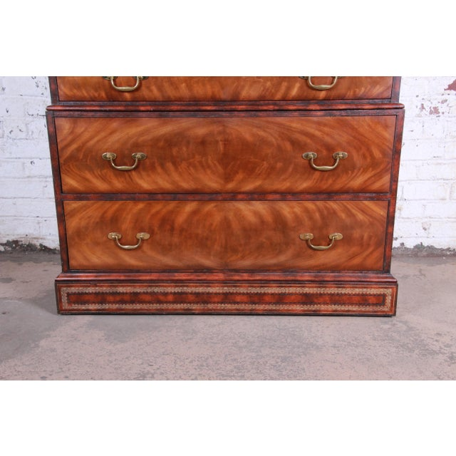 Late 20th Century Maitland Smith Flame Mahogany and Leather Chest on Chest Highboy Dresser For Sale - Image 5 of 13