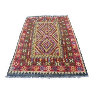 1970s, Handmade Vintage Afghan Kilim 5.1' X 6.8' For Sale